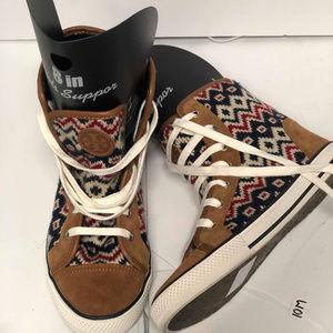 TORY BURCH NOAH Brown Suede Knit High Top Sneakers